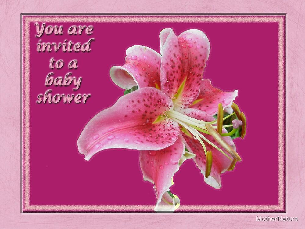 Baby shower invitation pink stargazer lily by mothernature baby shower invitation pink stargazer lily by mothernature filmwisefo