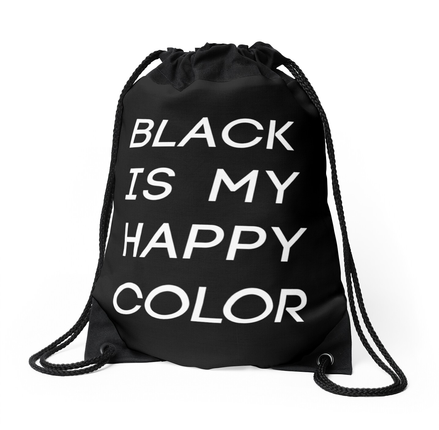 black is my happy color drawstring bags by soundlesswaves redbubble. Black Bedroom Furniture Sets. Home Design Ideas