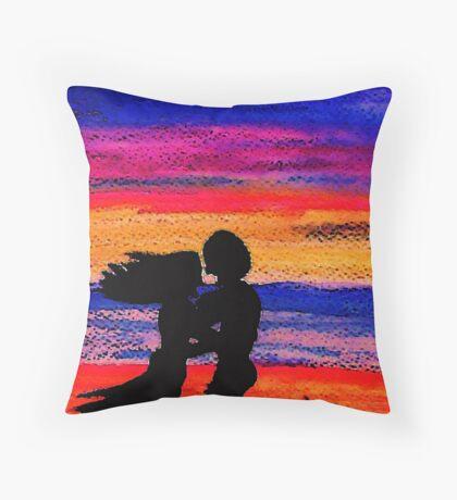 At sunset, watercolor Throw Pillow