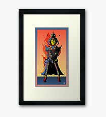 Cyberman Future Cop Cartoon Dark version Framed Print