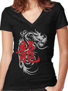 Chinese Zodiac Dragon Symbol Women's Fitted V-Neck T-Shirt