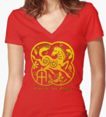 Chinese Year of The Horse Papercut Design Women's Fitted V-Neck T-Shirt