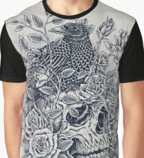 Monochrome Floral Skull Graphic T-Shirt