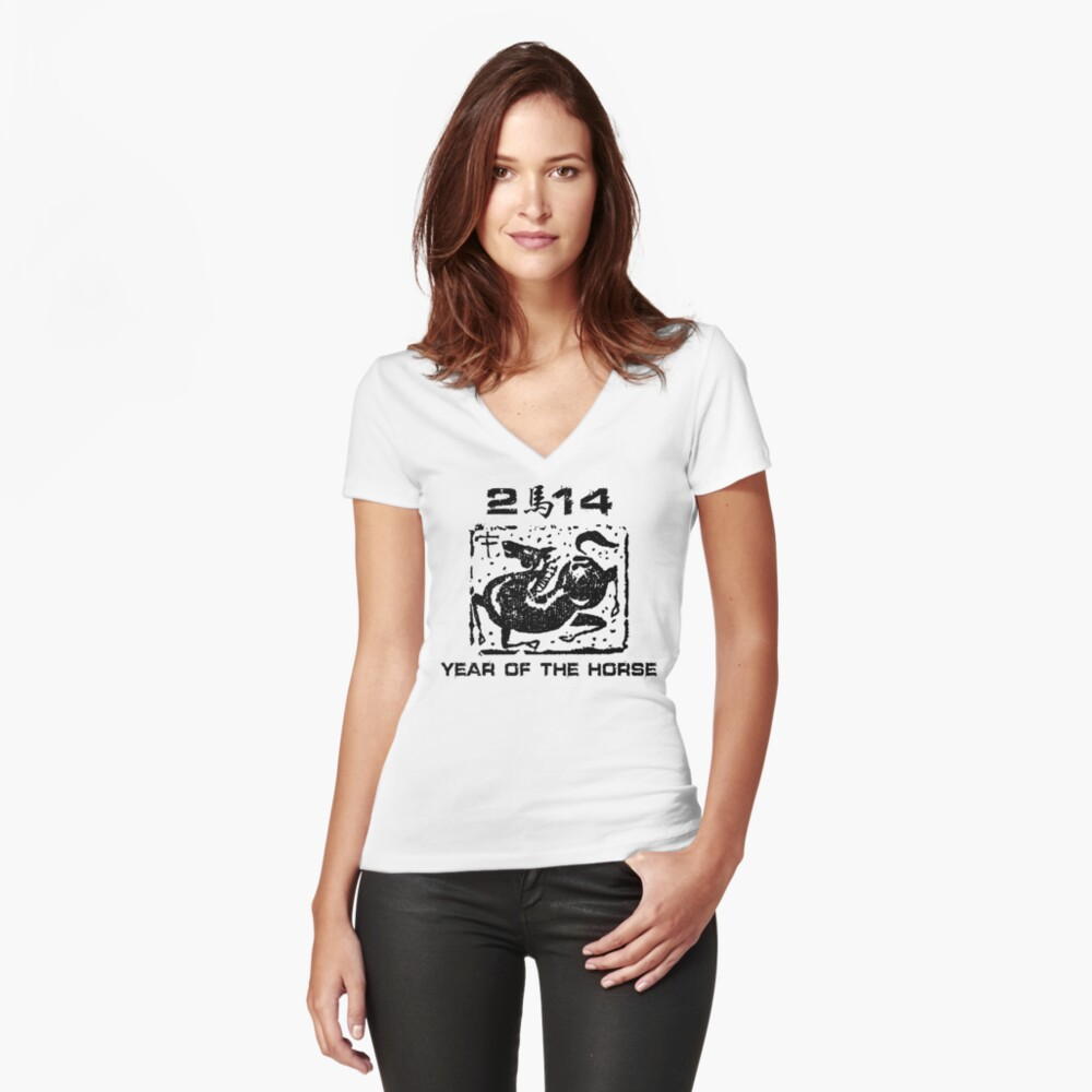 Chinese New Year of The Horse 2014 Women's Fitted V-Neck T-Shirt Front