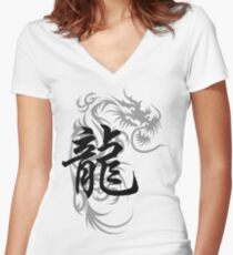 Chinese Zodiac Dragon Symbol Women's Fitted V-Neck T-Shirt