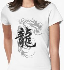 Chinese Zodiac Dragon Symbol Women's Fitted T-Shirt