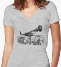 in the aeroplane over the sea Women's Fitted V-Neck T-Shirt