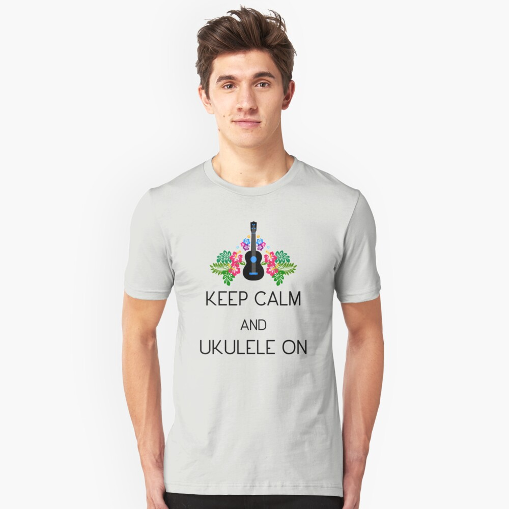 Keep Calm and Ukulele On Slim Fit T-Shirt