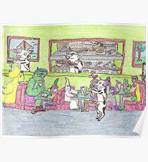 Boring Old Diner Scene Poster