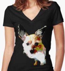 Terrier dog logo Women's Fitted V-Neck T-Shirt