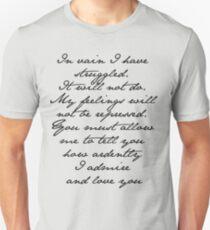 PRIDE AND PREJUDICE JANE AUSTEN MR. DARCY ENGAGEMENT SPEECH  Unisex T-Shirt