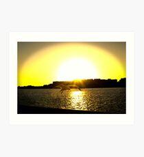 Sunset At The Port Art Print
