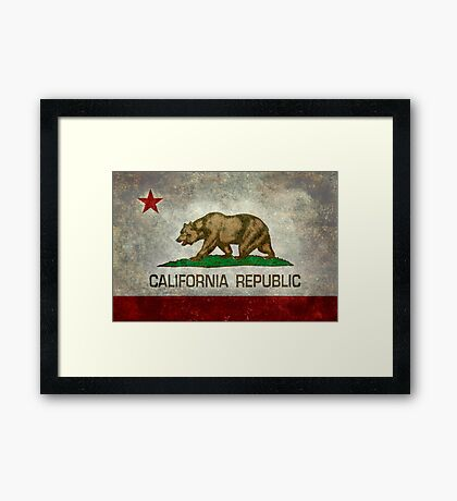 California Republic state flag - Vintage retro version Framed Print