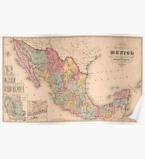 Vintage Karte von Mexiko (1859) Poster