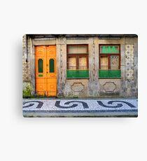 Orange and green door in Porto, Portugal Canvas Print