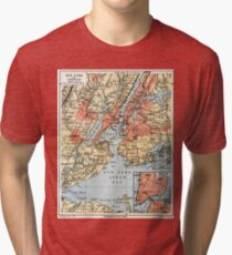 Camiseta de tejido mixto Vintage Map of The New York City Vicinity (1890)