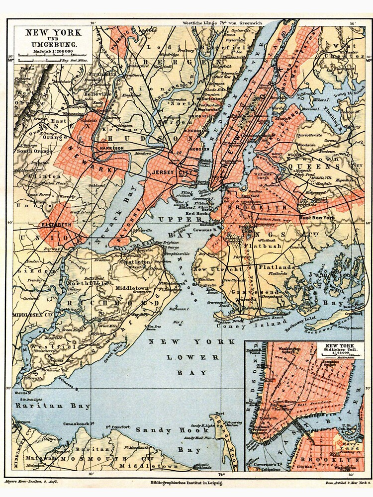 Vintage Map of The New York City Vicinity (1890)  de BravuraMedia