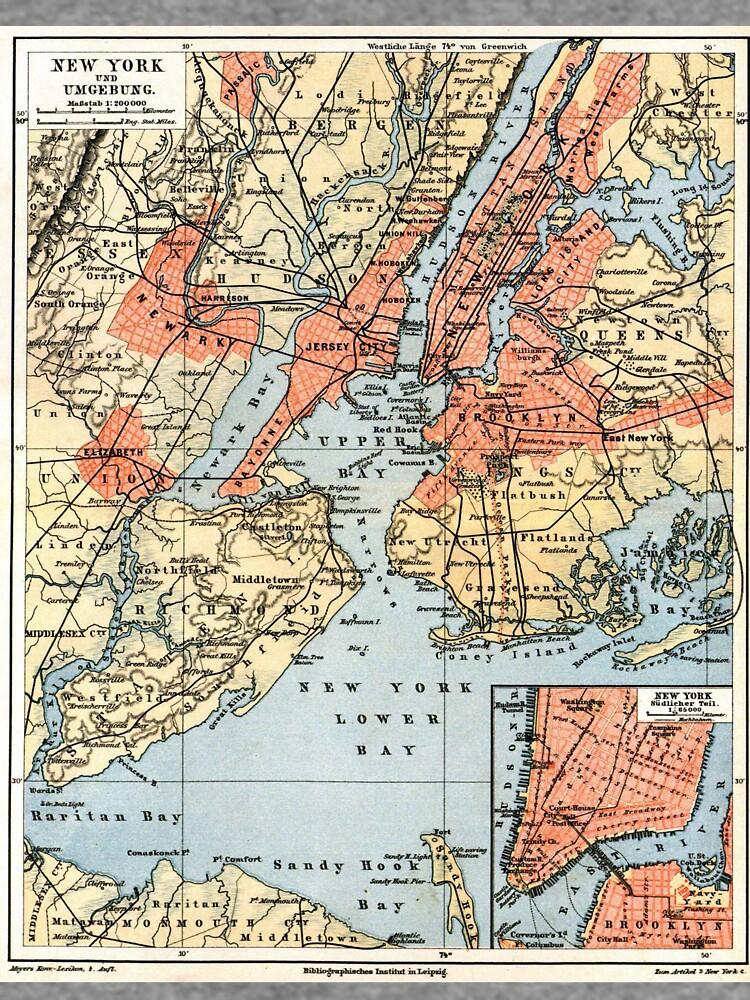 Vintage Map of The New York City Vicinity (1890)  de BravuraMedia