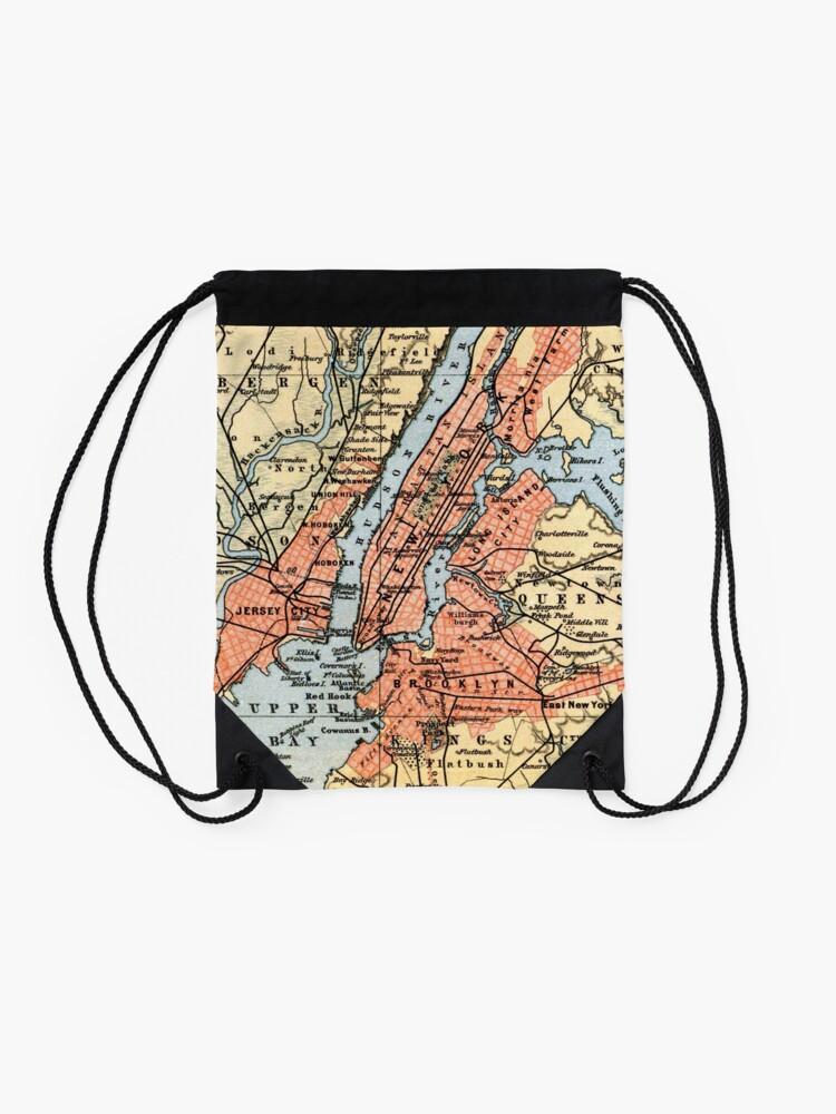 Vista alternativa de Mochila de cuerdas Vintage Map of The New York City Vicinity (1890)