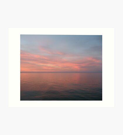Pink Clouds over Lake Michigan  Art Print