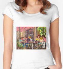 SIDEWALK CAFE RUE ST.DENIS BISTRO TERRACE ORIGINAL MONTREAL ART Women's Fitted Scoop T-Shirt