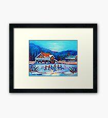 CANADIAN LANDSCAPE WITH POND HOCKEY ORIGINAL ART Framed Print