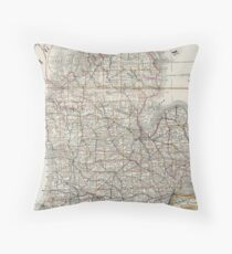 Vintage Map of Michigan (1901) 3 Throw Pillow