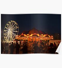Christmas Market Ferris Wheel and Merry-Go-Round Poster