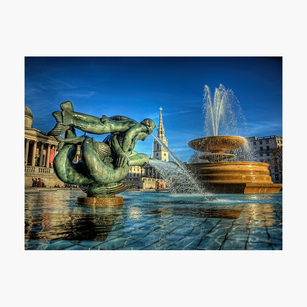 Fountains in Trafalgar Square - London Photographic Print