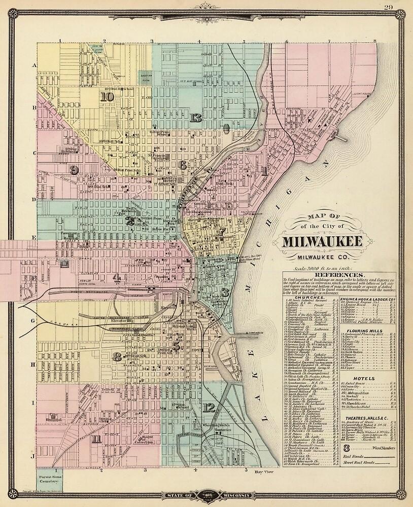 Vintage Map Of Milwaukee Wisconsin By BravuraMedia Redbubble - Vintage milwaukee map