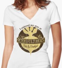 I enjoyed my stay at Schrute Farms (Brown) Women's Fitted V-Neck T-Shirt