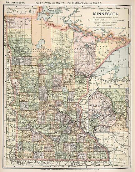Vintage Map of Minnesota (1891)