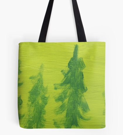 Impression Green Land Pine Trees Tote Bag
