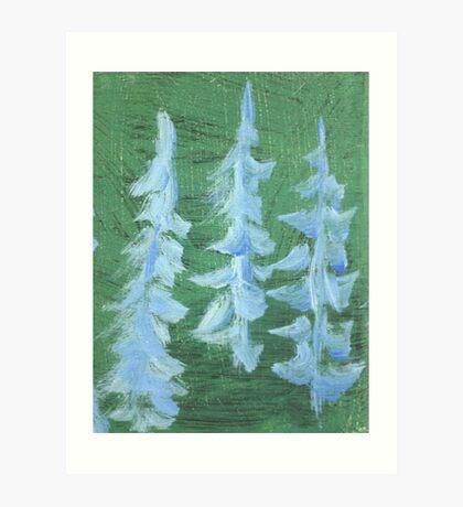 Impression Snowy PIne Trees Art Print