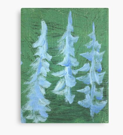 Impression Snowy PIne Trees Canvas Print