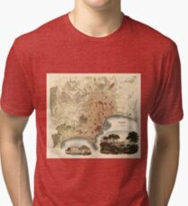Vintage Map of Naples Italy (1835) Tri-blend T-Shirt