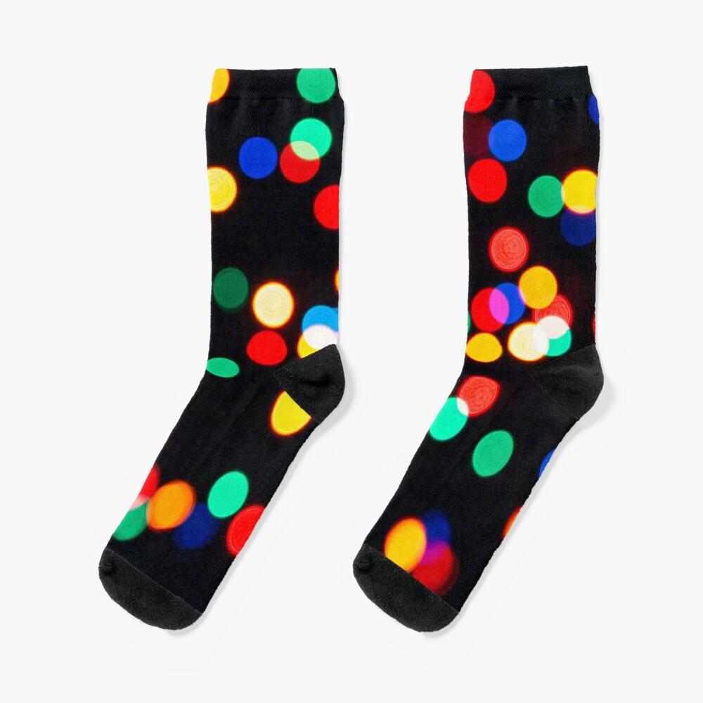 Bokeh Lights On a Black Background Socks