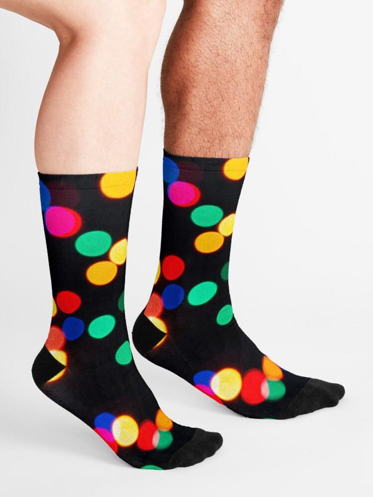 Alternate view of Bokeh Lights On a Black Background Socks