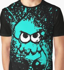 Splatoon Black Squid with Blank Eyes on Cyan Splatter Mask Graphic T-Shirt