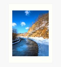 frozen road in the mountains Art Print