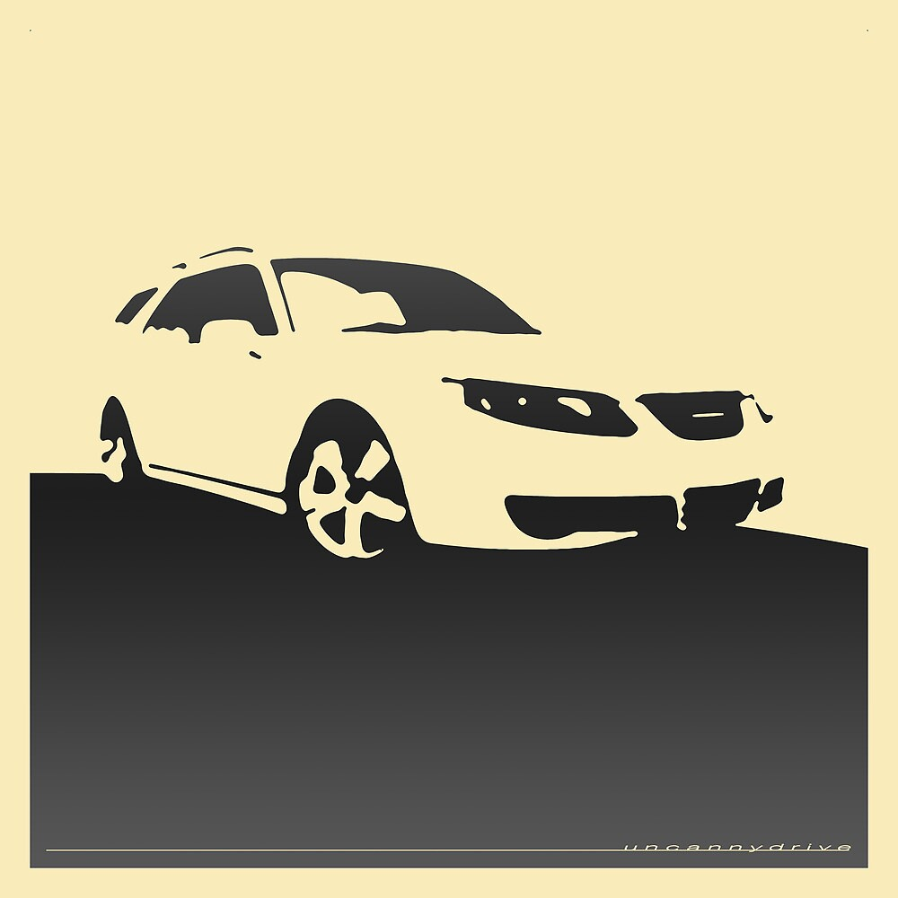 Saab 9-5, 2006 front - Black on cream by uncannydrive