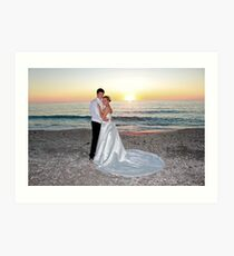 Beach Wedding Portrait Art Print