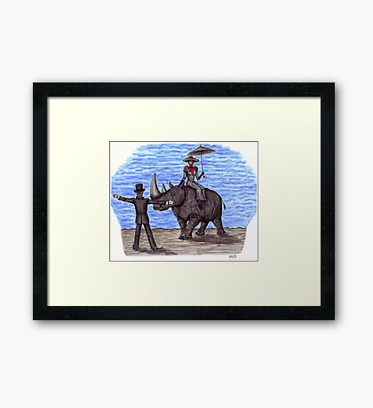 Rhino Situation surreal pen ink drawing Framed Print