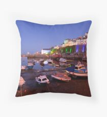 Brixham Devon, Inner Harbour by Night Throw Pillow