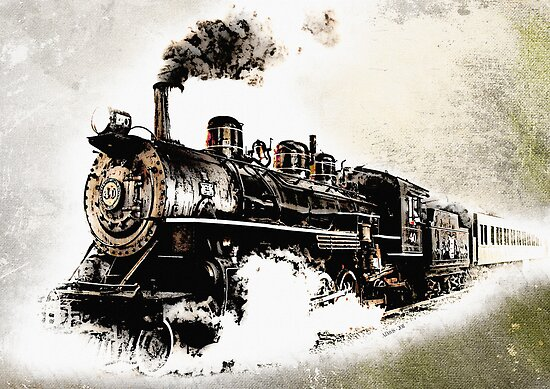 Vintage steam train posters by abie davis redbubble for Vintage train posters