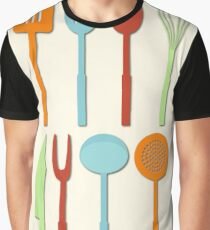 Kitchen Utensil Colored Silhouettes on Cream Graphic T-Shirt