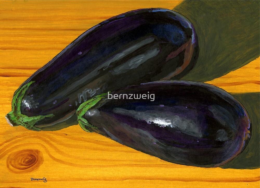 Plump, Purple Eggplants by bernzweig
