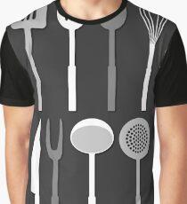 Kitchen Utensil Silhouettes Monochrome Graphic T-Shirt