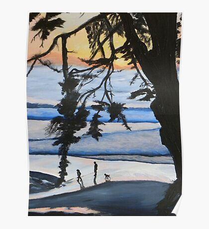 Sunset, Family Walks With Dog Poster