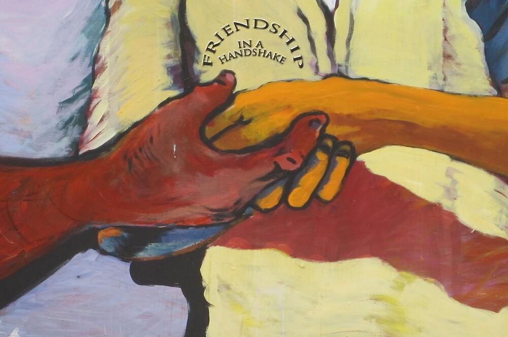 A street mural handshake by DAdeSimone